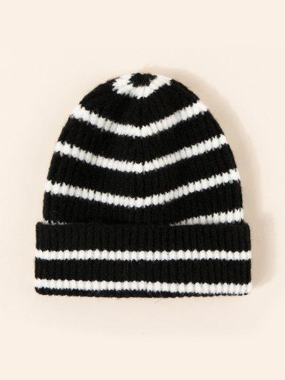 Winter Striped Pattern Knitted Hat - Black