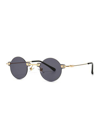 Retro Round Metal Rimless Sunglasses - Black