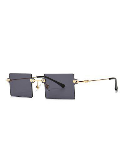 Retro Street Square Rimless Sunglasses - Black
