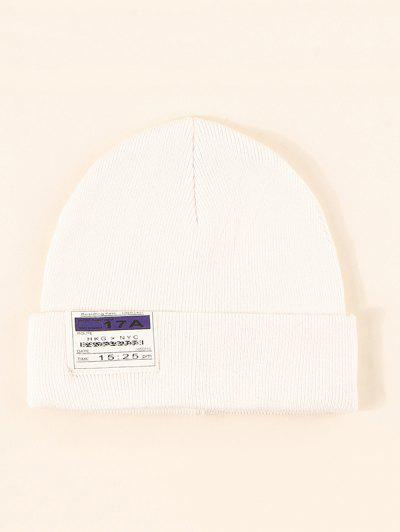 Sombrero De Tejido Con Borde De Etiqueta - Blanco