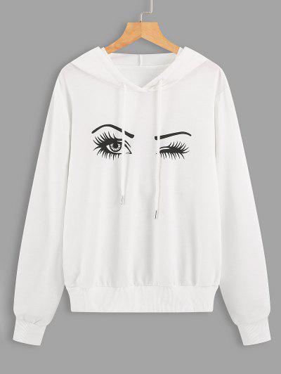 Drawstring Eyes Graphic Hoodie - White L