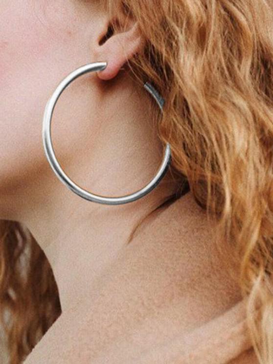 hot Stylish Round Ring Metal Street Hoop Earrings - SILVER