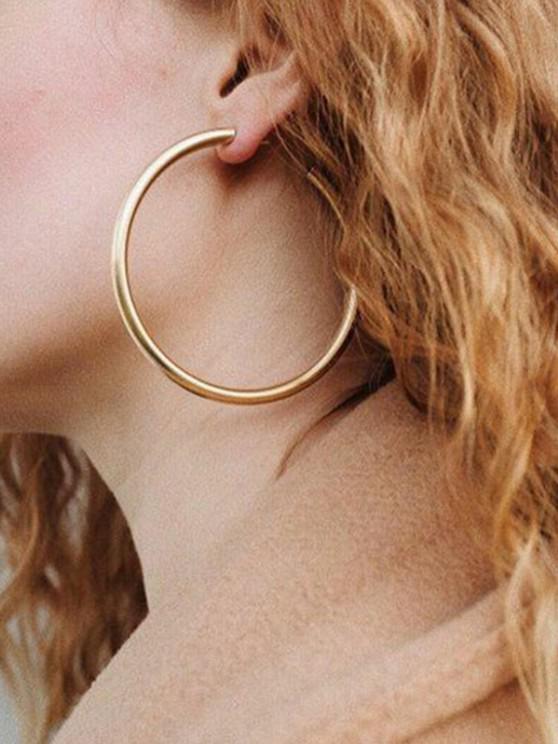 fancy Stylish Round Ring Metal Street Hoop Earrings - GOLD