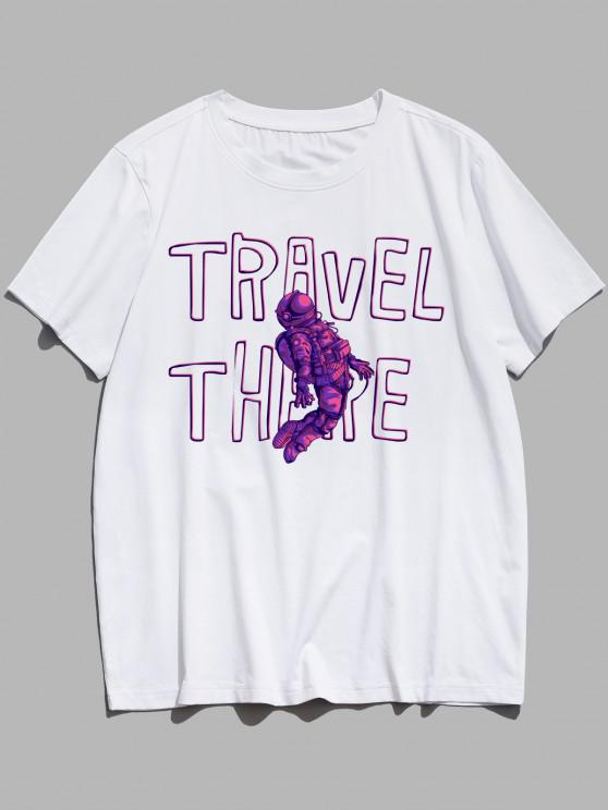 TRAVEL THERE Astronaut Pattern Graphic T-shirt - أبيض XS