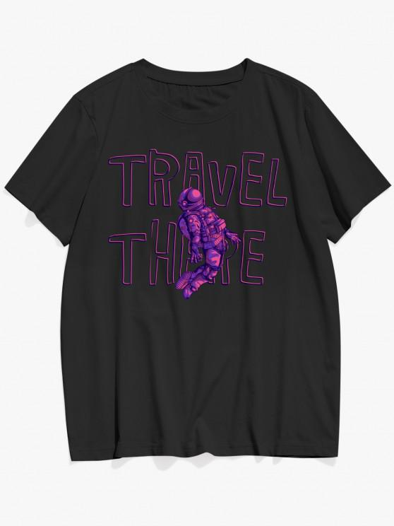 fashion TRAVEL THERE Astronaut Pattern Graphic T-shirt - BLACK L