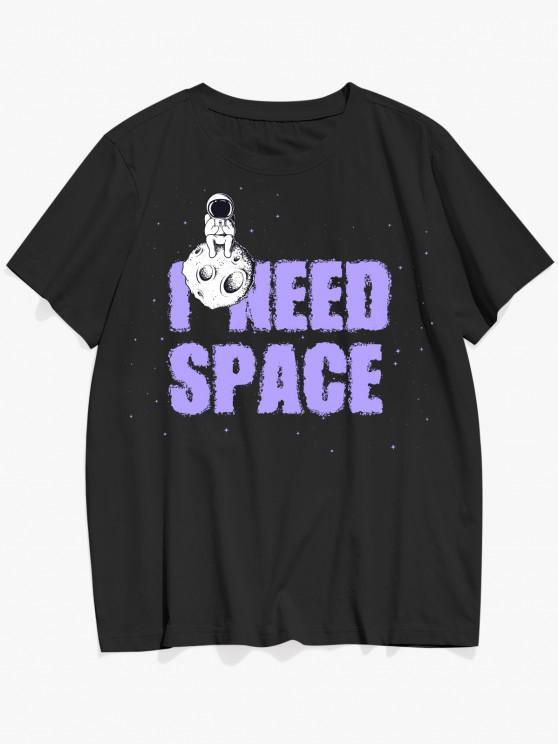 I NEED SPACE Astronaut Pattern Basic T-shirt - أسود L