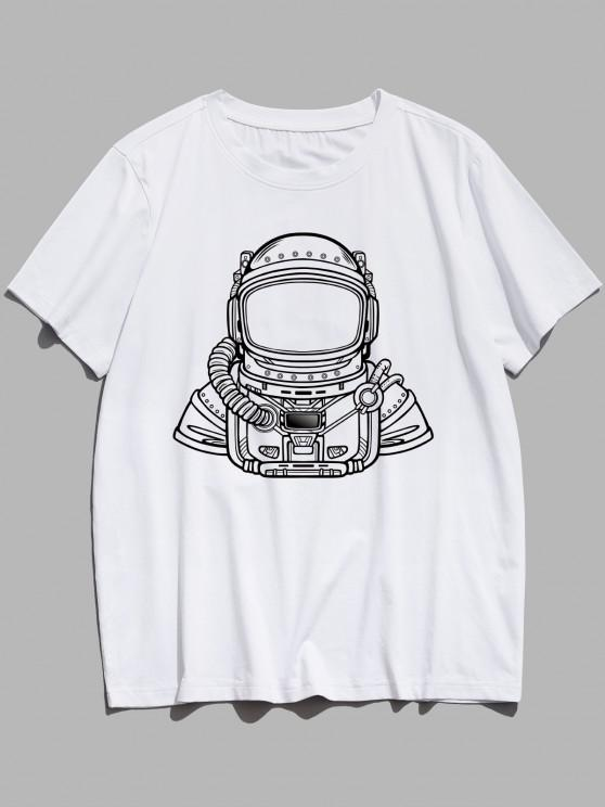 Basic Astronaut Figure Pattern T-shirt - أبيض XS