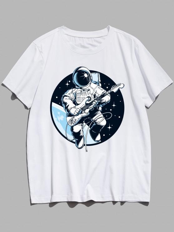 Playing Guitar Astronaut Print Graphic Tee - أبيض XS