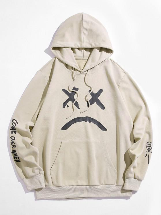 affordable ZAFUL Slogan Evil Funny Face Pattern Hoodie - LIGHT COFFEE S
