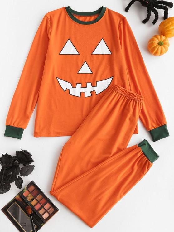 outfits Halloween Funny Pumpkin Face Two Piece Pants Set - DARK ORANGE S