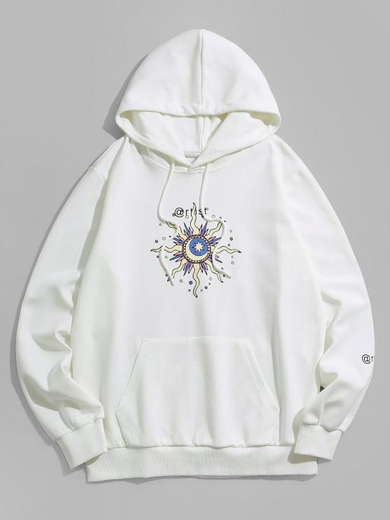 ZAFUL Celestial Sun Moon And Star Pattern Hoodie - أبيض M