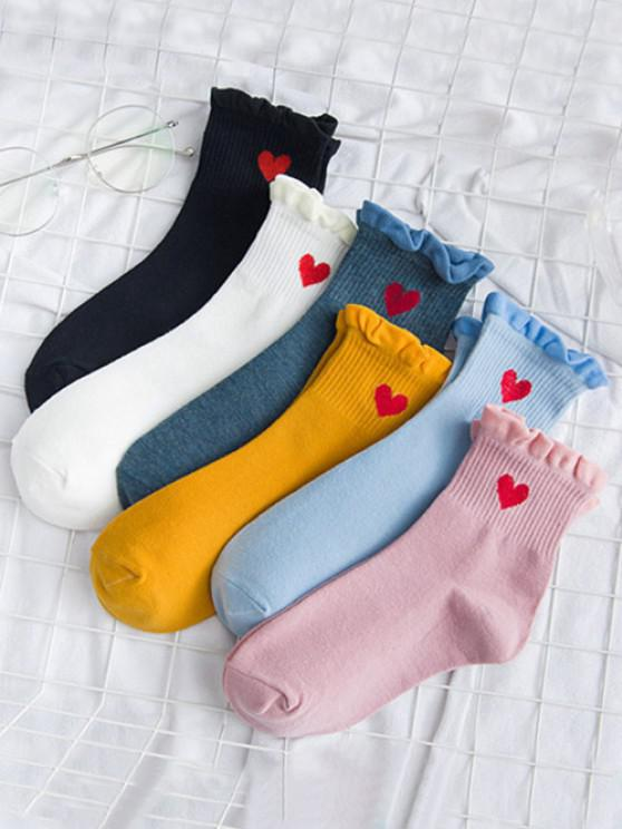 6 Pairs Embroidery Heart Ruffle Socks Set - Multi-A