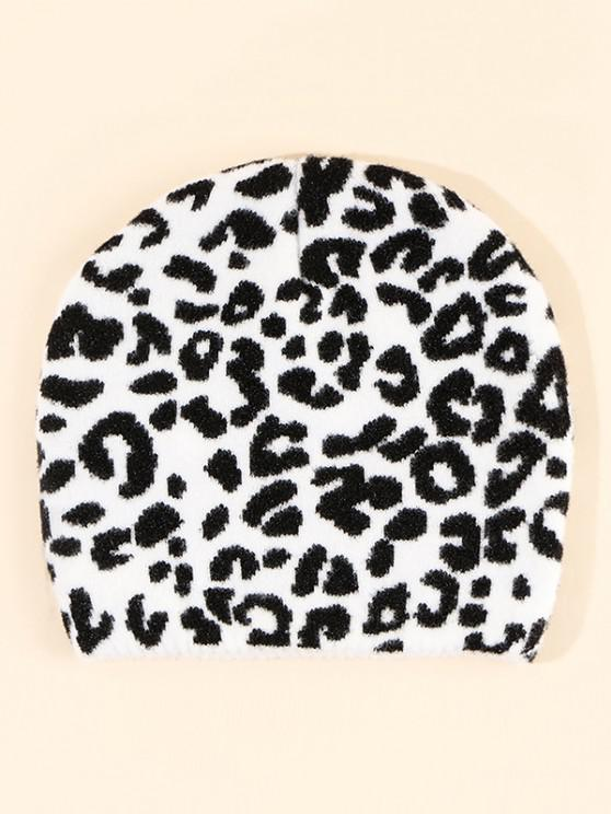 lady Leopard Pattern Knitted Hat - WHITE