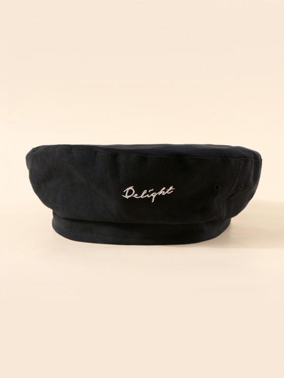 affordable Letters Pattern Flat Beret Hat - BLACK