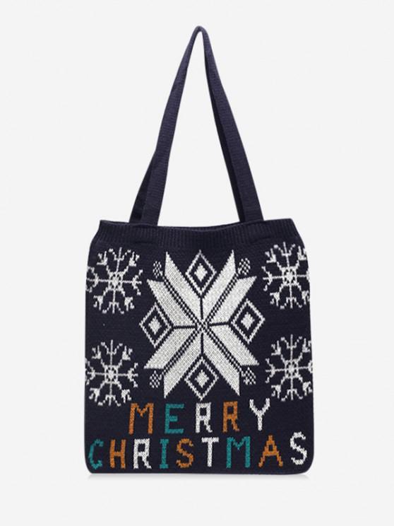 Christmas Tree Knitted Tote Bag - أسود