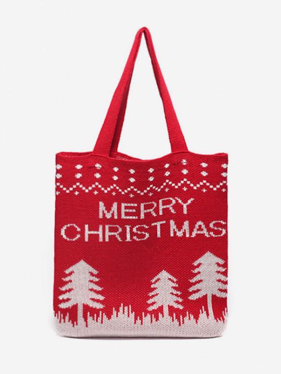 Weihnachtsbaum Gestrickte Taschen-Tasche - Lava Rot