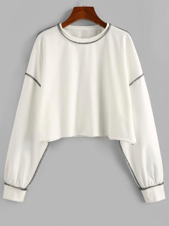 ZAFUL Sweat-shirt Court Cousu Contrasté - Blanc L