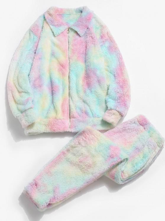 chic Tie Dye Fluffy Jacket And Pants Two Piece Set - LIGHT PINK M