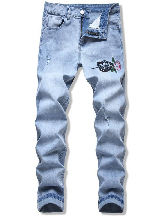 Flower Leaf Embroidery Ripped Straight Jeans - أزرق فاتح 40
