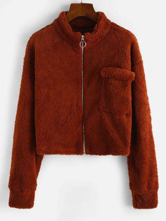 trendy Drop Shoulder Pocket Crop Teddy Jacket - COFFEE L