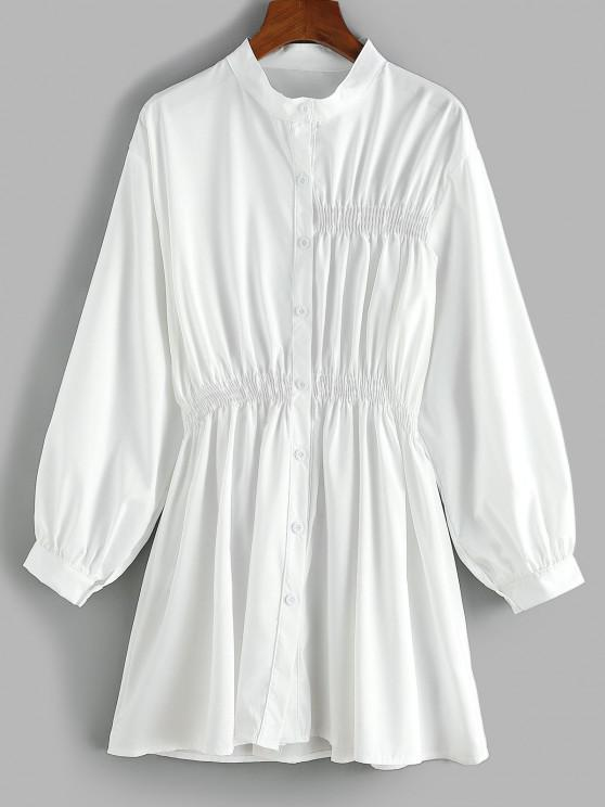 chic Smocked Waist Long Sleeve Shirt Dress - WHITE M