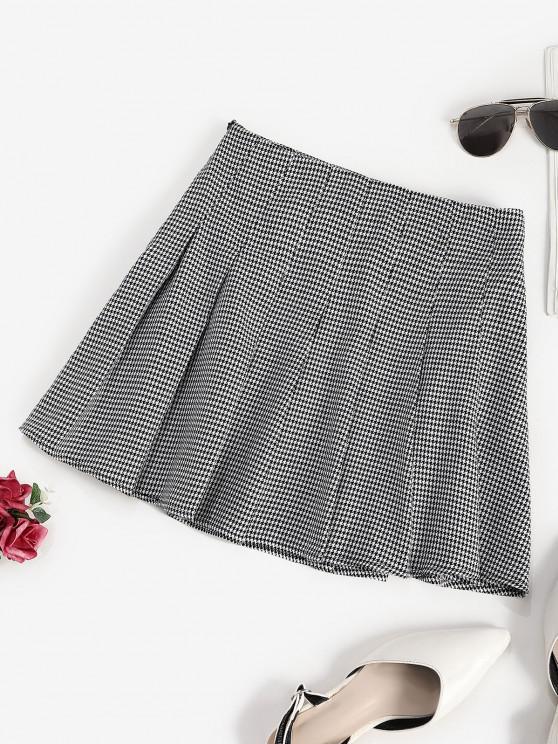 womens ZAFUL Houndstooth Pleated Mini Skirt - BLACK L