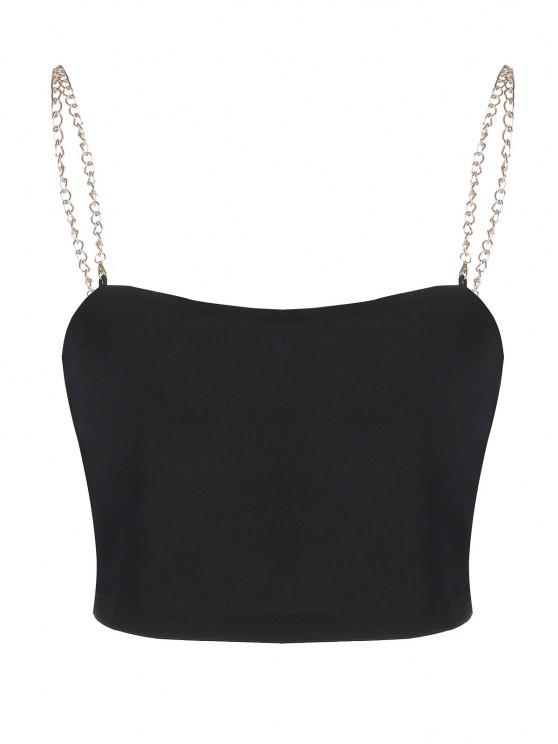 ZAFUL Chain Strap Crop Tank Top - أسود L