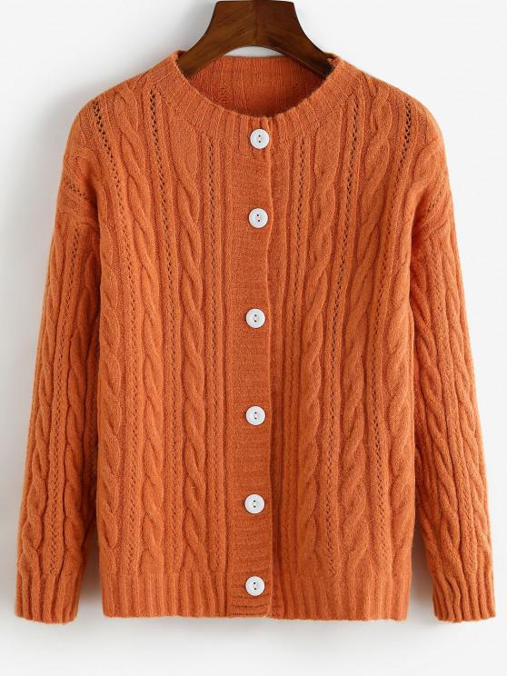 fancy Drop Shoulder Pointelle Knit Button Up Cardigan - ORANGE ONE SIZE