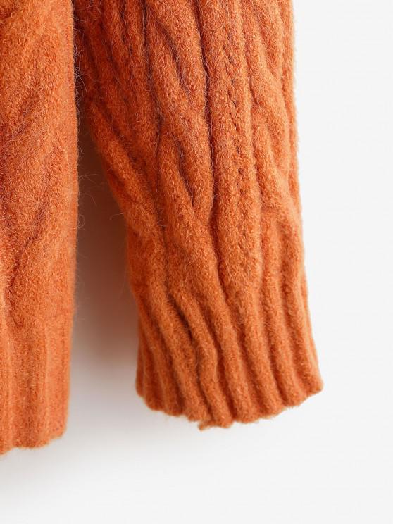 Drop Shoulder Pointelle Knit Button Up Cardigan - Orange   ZAFUL