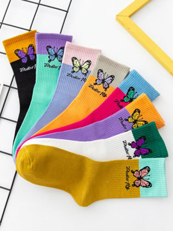 sale 8 Pairs Butterfly Colorblock Crew Socks Set - MULTI-A