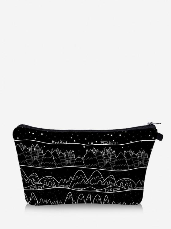 women Christmas Printed Trees Makeup Bag - BLACK