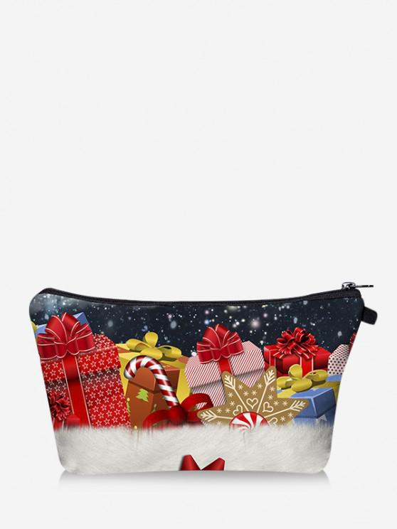 women's Christmas Gifts Printed Makeup Bag - CHESTNUT RED