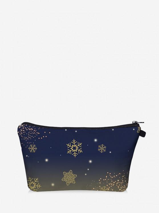 best Christmas Snowflake Print Makeup Bag - DARK SLATE BLUE
