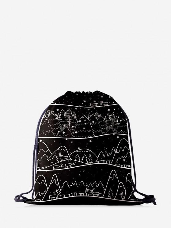 online Christmas Drawing Trees Print Cinch Bag - BLACK