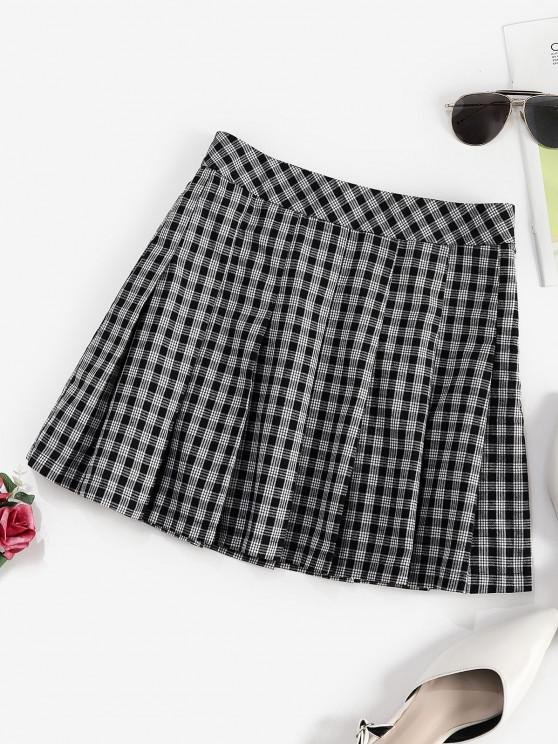 affordable ZAFUL Plaid Preppy Pleated Mini Skirt - BLACK M