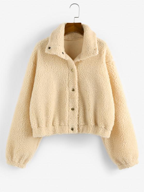 ladies ZAFUL Drop Shoulder Button Up Teddy Coat - APRICOT M