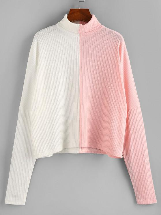 hot ZAFUL Colorblock Dolman Sleeve Sweater - WHITE S