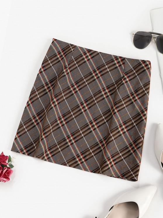 shop ZAFUL Plaid Mini A Line Skirt - COFFEE M