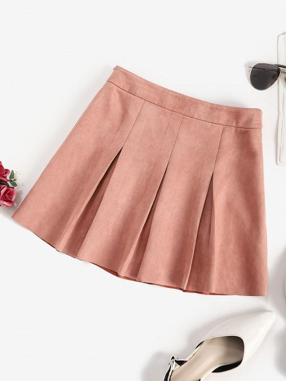 trendy ZAFUL Faux Suede Pleated Mini Skirt - ROSE S
