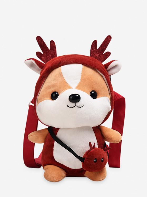 hot Christmas Elk Shape Crossbody Bag - CHESTNUT RED