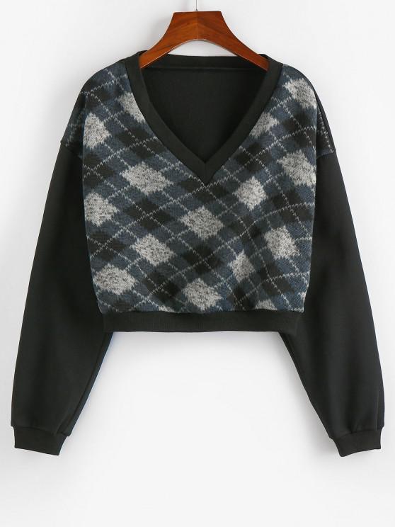 fashion ZAFUL  V Neck Argyle Cropped Sweatshirt - BLACK M