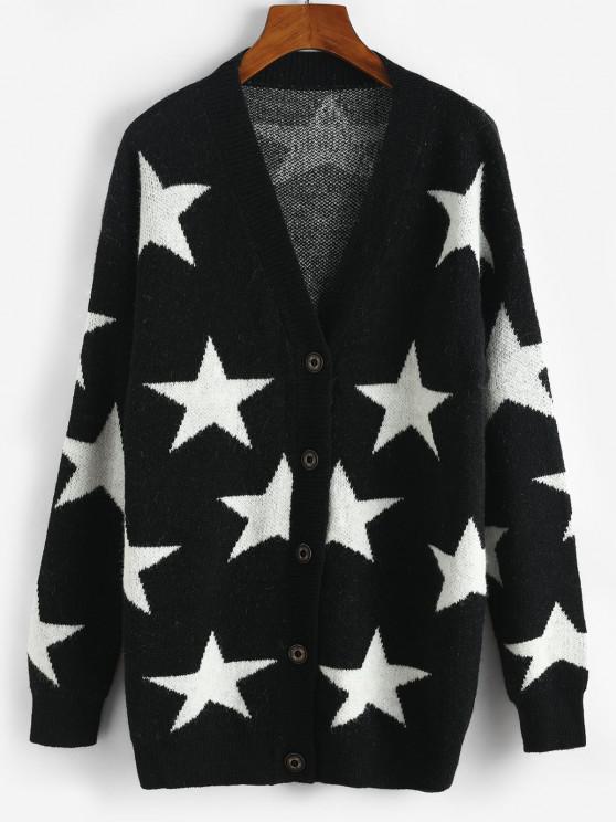 fancy Star Drop Shoulder Button Up Cardigan - BLACK ONE SIZE