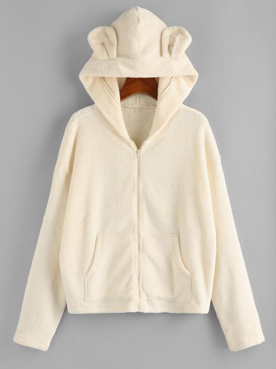 trendy ZAFUL Plush Bear Ear Hooded Drop Shoulder Coat - BEIGE M