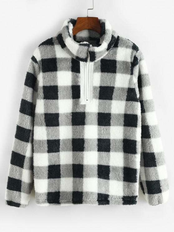 Plaid Plush Quarter Zip Sweatshirt - أسود L