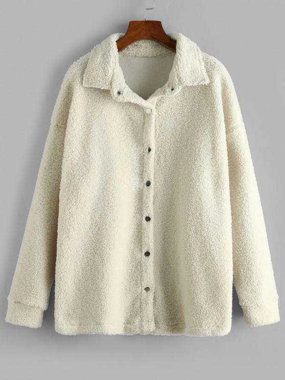 Solid Snap Button Teddy Coat - الأبيض الدافئ M