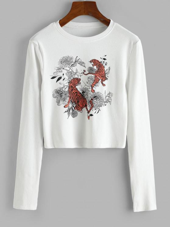 fashion Rib-knit Tiger Floral Print Top - WHITE M