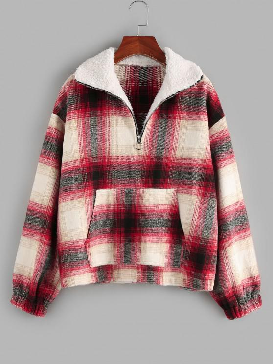 shops ZAFUL Tartan Half Zip  Drop Shoulder Pullover Jacket - RED M