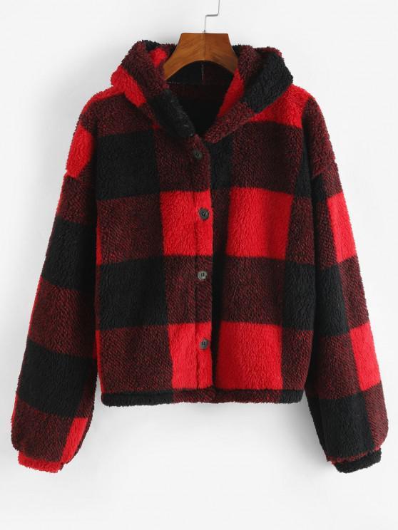 Faux Fur Plaid Hooded Drop Shoulder Coat - أحمر M