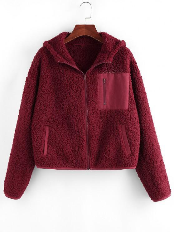 ZAFUL Pockets Hooded Teddy Coat - نبيذ احمر M