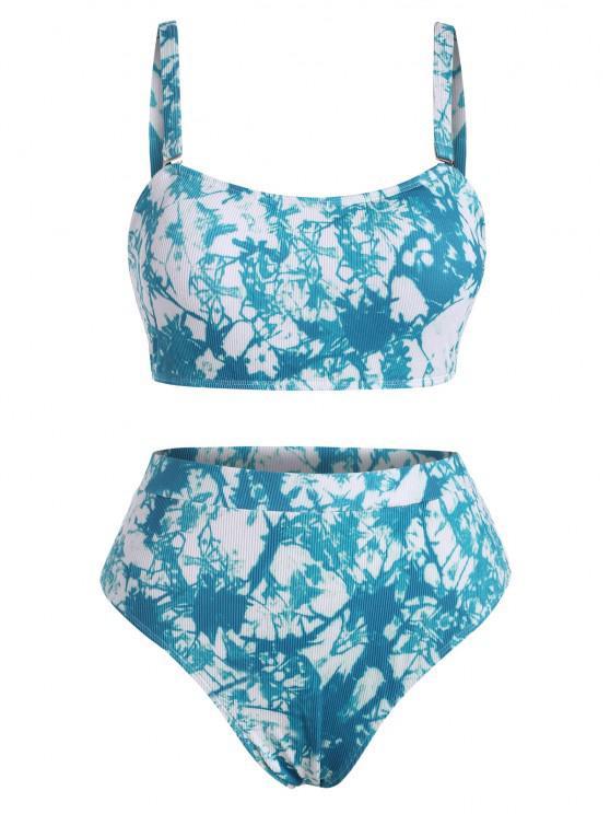 best ZAFUL Plus Size Tie Dye Ribbed Bikini Swimwear - BLUE XL